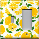 Combo Light Switch and Rocker GFCI Outlet Cover in Bright Yellow Lemon Slices Handmade Kitchen Decor