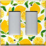 Double Rocker Decora Light Switch Cover in Bright Yellow Lemon Slices Handmade Kitchen Decor