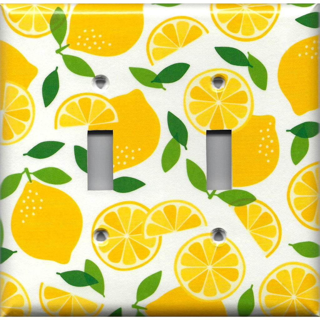 Double Light Switch Cover in Bright Yellow Lemon Slices Handmade Kitchen Decor- Simply Chic Gal