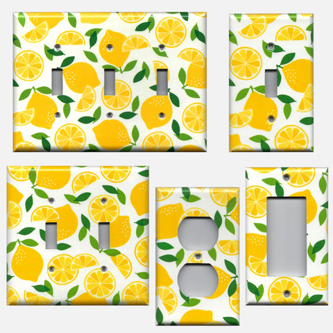 Bright Yellow Lemon Slices Kitchen Decor Light Switch Plates & Outlet Covers