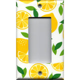 Single Rocker Decora GFCI Outlet Cover in Bright Yellow Lemon Slices Handmade Kitchen Decor