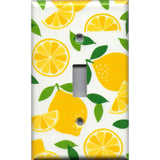 Single Light Switch Cover in Bright Yellow Lemon Slices Handmade Kitchen Decor- Simply Chic Gal