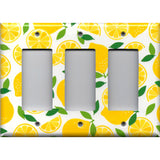 Triple Rocker Decora Light Switch Cover in Yellow Lemon Slices Kitchen Decor