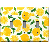 Triple Toggle Light Switch Plate Cover in Yellow Lemon Slices Kitchen Decor