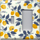 Combo Light Switch and Rocker Cover in Lemons Farmhouse Kitchen Decor