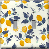 Lemons with Navy Leaves Kitchen Decor Light Switch Plates and Wall Outlet Covers Farmhouse Kitchen Light Switch Covers