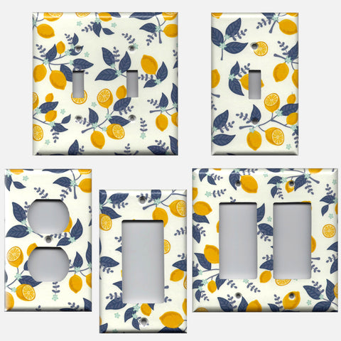 Lemons with Navy Leaves Farmhouse Kitchen Light Switch Plates & Outlet Covers