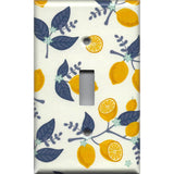 Single Toggle Light Switch Cover in Lemons Navy Blue Leaves Farmhouse Kitchen Decor- Simply Chic Gal