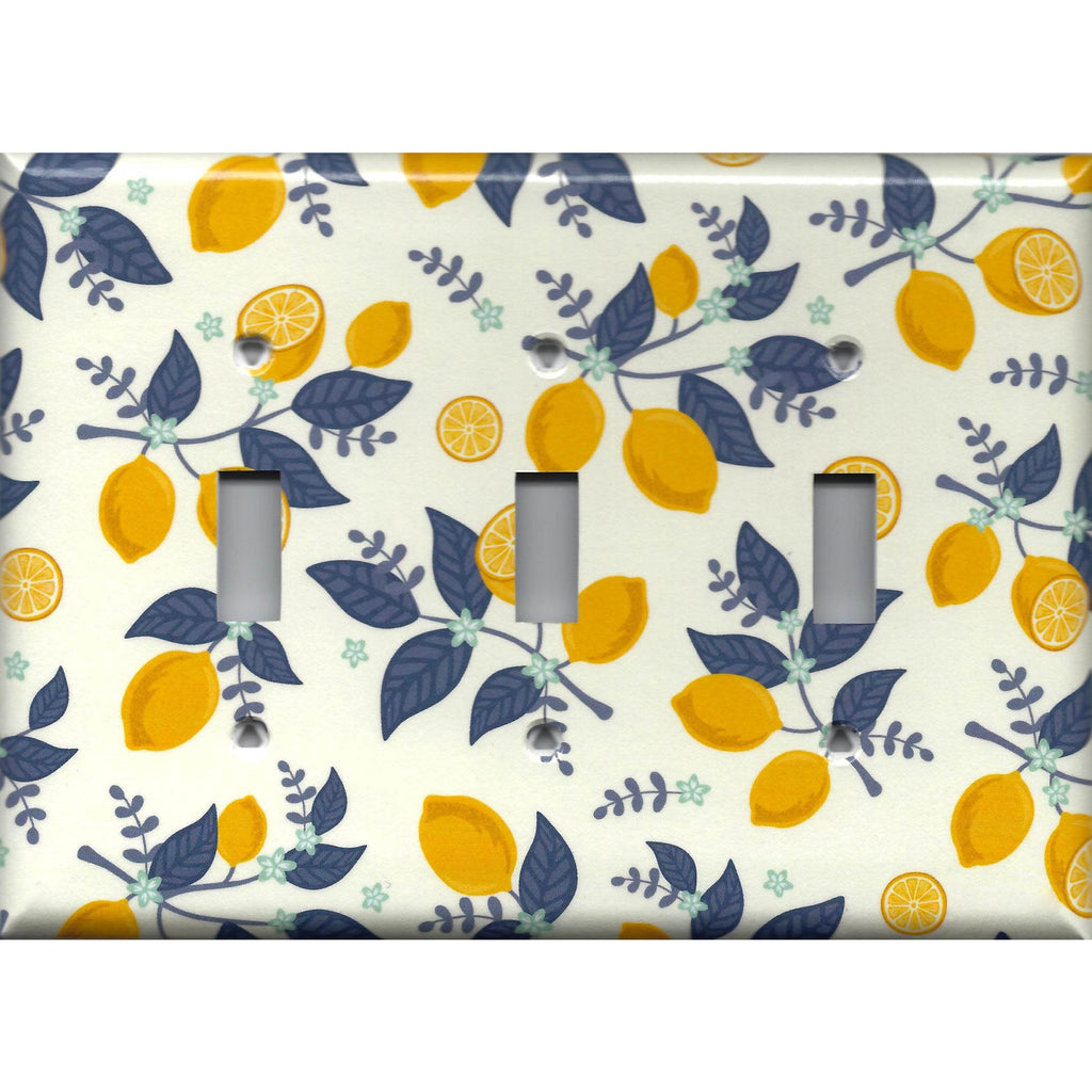 Triple Toggle Light Switch Cover in Lemons Navy Blue Leaves Farmhouse Kitchen Decor- Simply Chic Gal