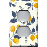 Wall Outlet Cover in Lemons Navy Blue Leaves Farmhouse Kitchen Decor- Simply Chic Gal