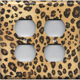 4 Plug Outlet Cover in Leopard Spots Animal Print African Decor