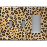 Combo 2 Toggle Light Switches and Rocker Cover in Leopard Spots Animal Print African Decor