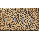 Quad Toggle Light Switch Cover in Leopard Spots Animal Print African Decor