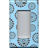 Single Rocker Decora Light Switch GFI Outlet Cover in Light Blue & Chocolate Brown Starburst Polka Dots Fireworks