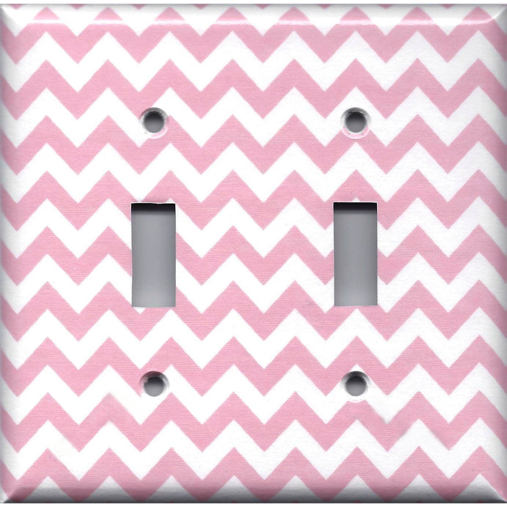 Double Toggle Light Switch Plate Cover in Light Pink Chevron Zig Zag Print Handmade- Simply Chic Gal