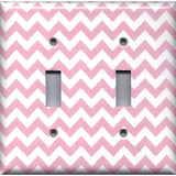 Double Light Switch Cover in Light Pink Chevron Zig Zag Print
