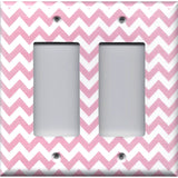 Double Rocker Decora Light Switch in Light Pink Chevron Zig Zag Print Handmade- Simply Chic Gal