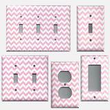 Light Pink Chevron Zig Zag Print Light Switch Plates & Outlet Covers