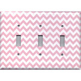 Triple Toggle Light Switch Cover in Light Pink Chevron Zig Zag Print