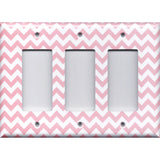 Triple Rocker Decora Light Switch Cover in Light Pink Chevron Zig Zag Print