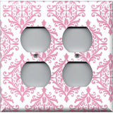 4 Plug Outlet Cover in Light Pink Elegant Damask Handmade Baby Girl Nursery Decor