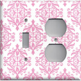 Combo Light Switch and Outlet Cover in Light Pink Elegant Damask Handmade Baby Girl Nursery Decor