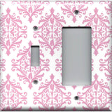 Combo Light Switch and Rocker GFI Outlet  in Light Pink Elegant Damask Baby Girl Nursery Decor