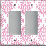 Double Rocker Decora Cover in Light Pink Elegant Damask Handmade Baby Girl Nursery Decor