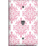 Phone Jack Cover in Light Pink Elegant Damask Handmade Baby Girl Nursery Decor