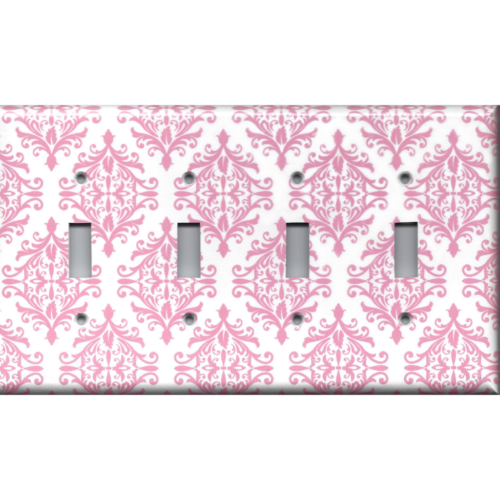 Quad Light Switch Cover in Light Pink Elegant Damask Handmade Baby Girl Nursery Decor