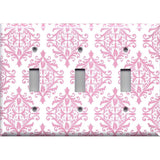 Triple Toggle Light Switch Cover in Light Pink Elegant Damask Handmade Baby Girl Nursery Decor