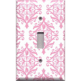 Single Toggle Light Switch Cover in Light Pink Elegant Damask Handmade Baby Girl Nursery Decor