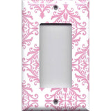 Single Rocker Decora GFI Outlet Cover in Light Pink Elegant Damask Handmade Baby Girl Nursery Decor