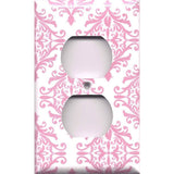 Wall Outlet Cover in Light Pink Elegant Damask Handmade Baby Girl Nursery Decor- Simply Chic Gal