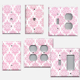 Light Pink Elegant Damask Baby Girl Nursery Decor Handmade Light Switch Plate Covers & Outlet Covers