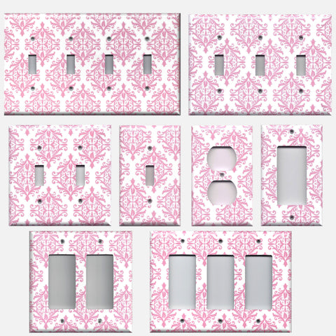 Light Pink Damask Elegant Filigree Baby Girl Nursery Decor Light Switchplates & Outlet Covers