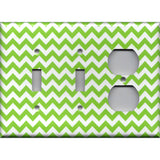 Combo 2 Lights and Outlet Cover in Lime Green Chevron Print