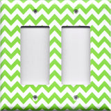 Double Rocker Decora Light Switch Cover in Lime Green Chevron Print