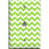 Phone Jack Cover in Lime Green Chevron Print