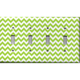 Quad Toggle Light Switch Cover in Lime Green Chevron Print