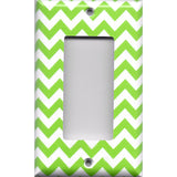 Single Rocker Decora GFI Outlet Cover in Lime Green Chevron Print
