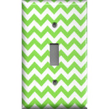 Single Toggle Light Switch Cover in Lime Green Chevron Print