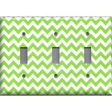 Triple Toggle Light Switch Cover in Lime Green Chevron Print