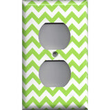 Wall Outlet Plate Cover in Lime Green Chevron Print
