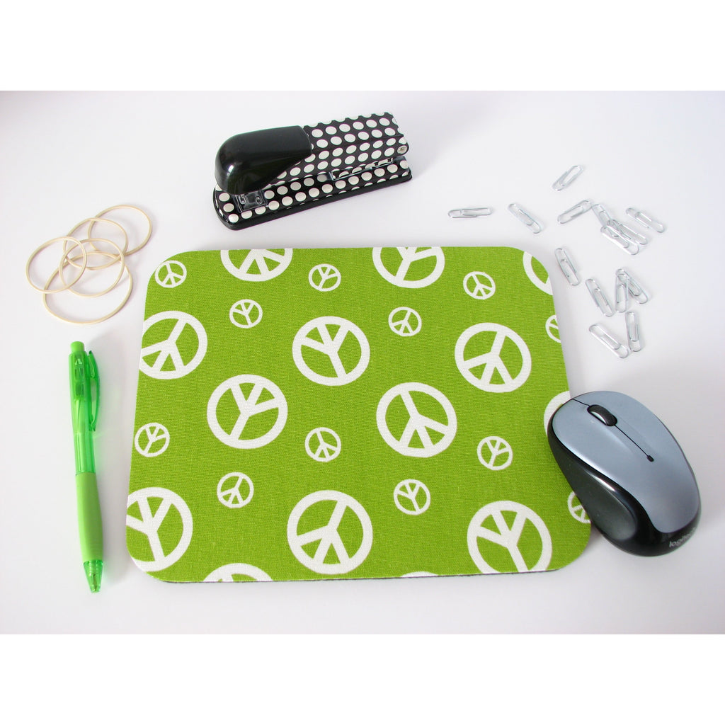 Lime Green Hippie Peace Signs Mouse Pad, Mousepad 60's Retro Cubicle/Dorm Decor