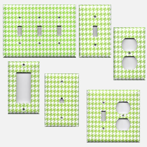 Lime Green & White Houndstooth Hand Made Light Switch Plates & Outlet Covers