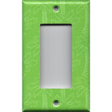Single Rocker Decora GFI Outlet Cover in Lime Green Palm Trees Beach House Decor