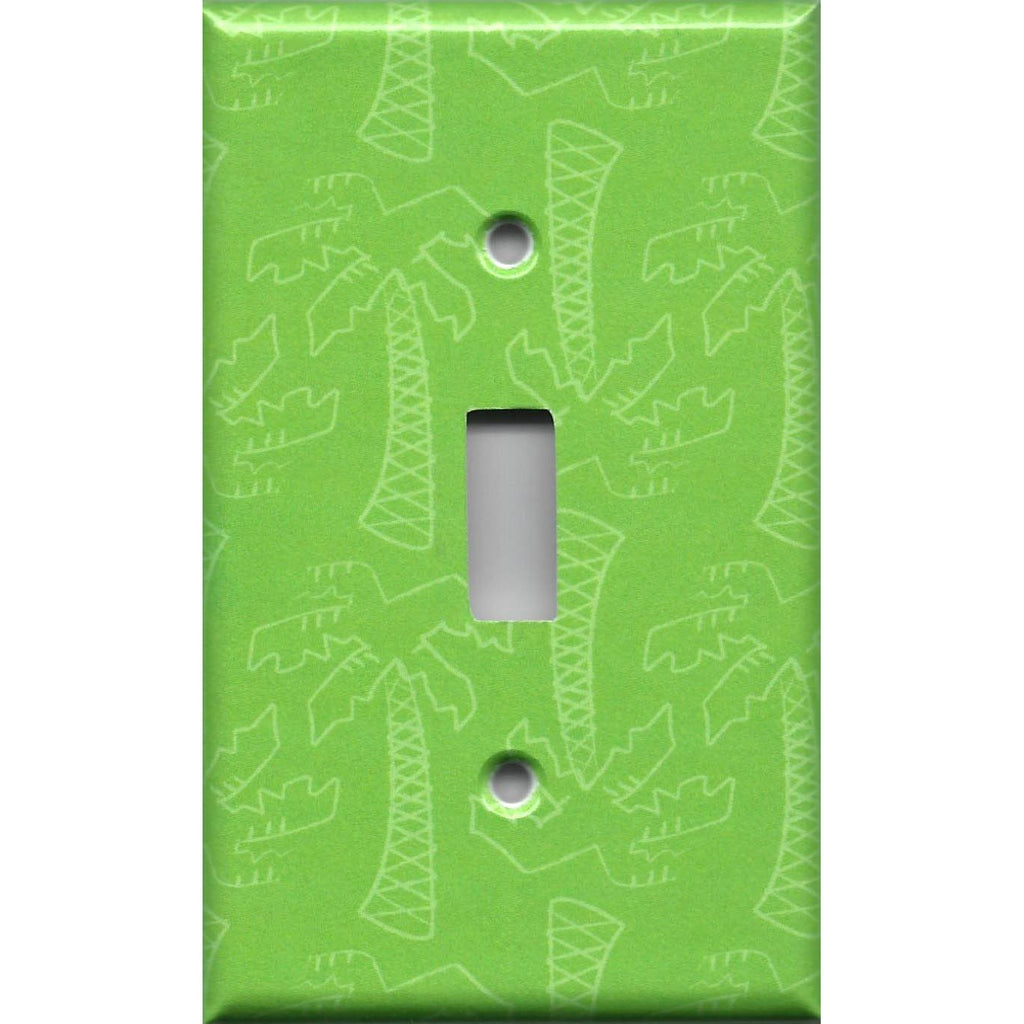 Single Toggle Light Switch Cover in Lime Green Palm Trees Beach House Handmade- Simply Chic Gal