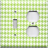Combo Light Switch and Outlet Cover in Lime Green & White Houndstooth Handmade- Simply Chic Gal