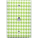 Phone Jack Cover in Lime Green & White Houndstooth Handmade- Simply Chic Gal
